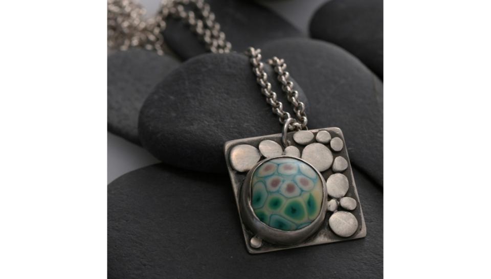 Pebbles Pendant - Lampwork Cab1