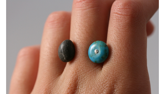 Pebble Ring with Turquoise