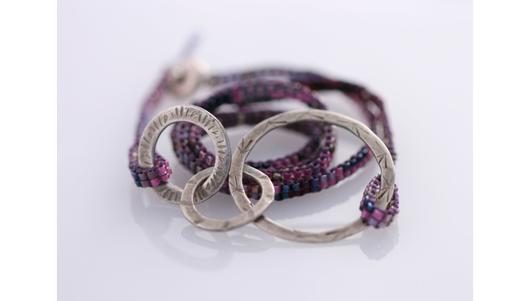 Purple Triple Wrap Rings Bracelet